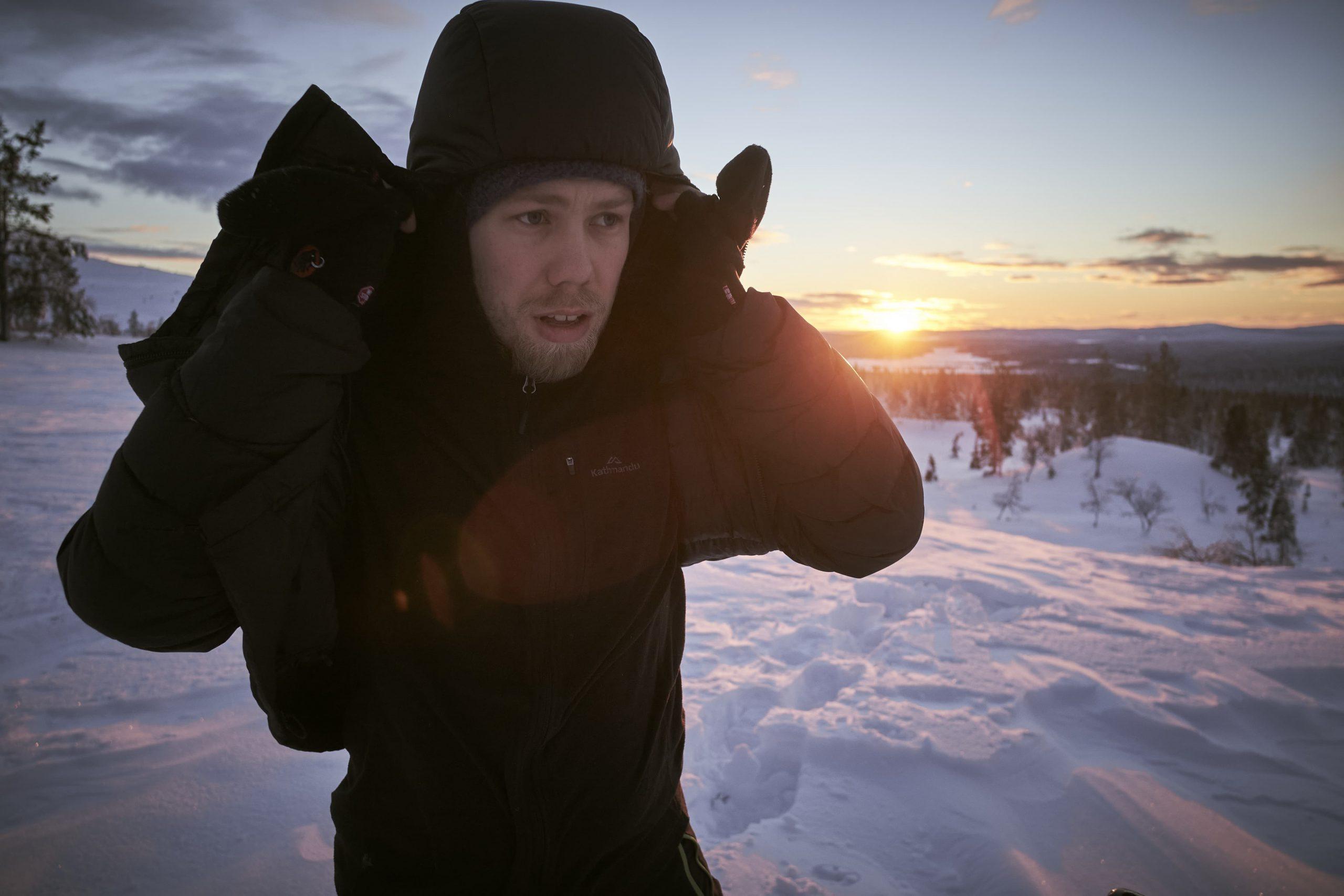 s.h. schroeder beim Sonnenuntergang in Finnland